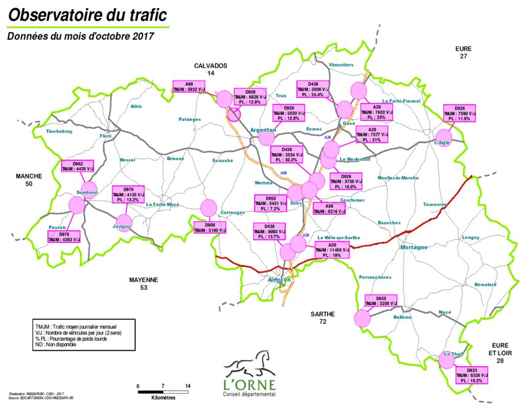 trafic dans l'Orne -2017