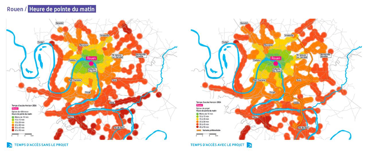 Rouen : gains de temps estimés par la Dreal sans l'autoroute ou avec l'autoroute