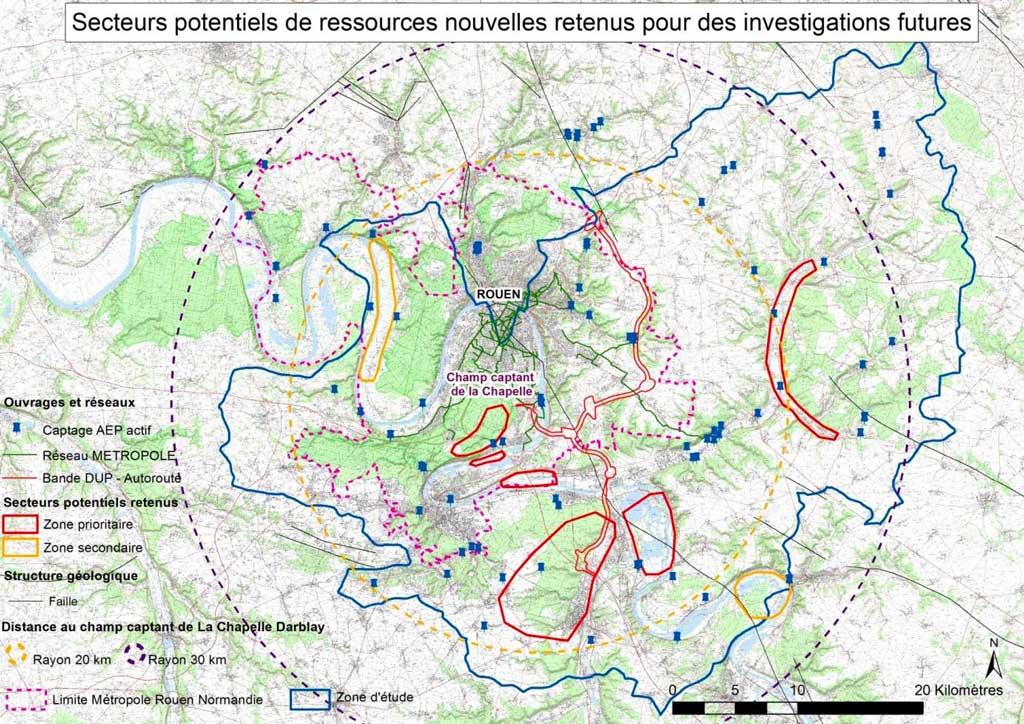 secteurs potentiels de ressources nouvelles -BRGM pour la Métropole Rouen Normandie