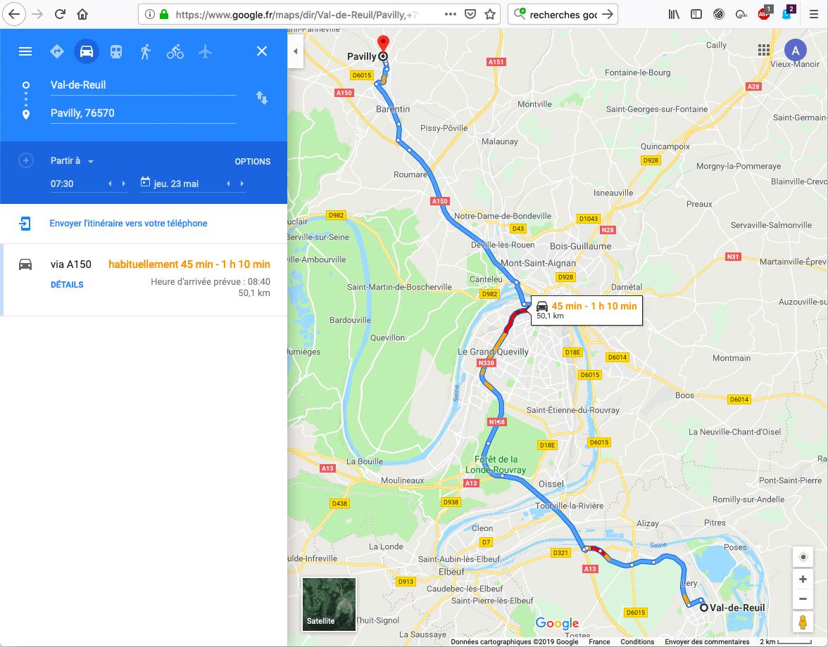 de Val-de-Reuil à Pavilly en heure de pointe du matin