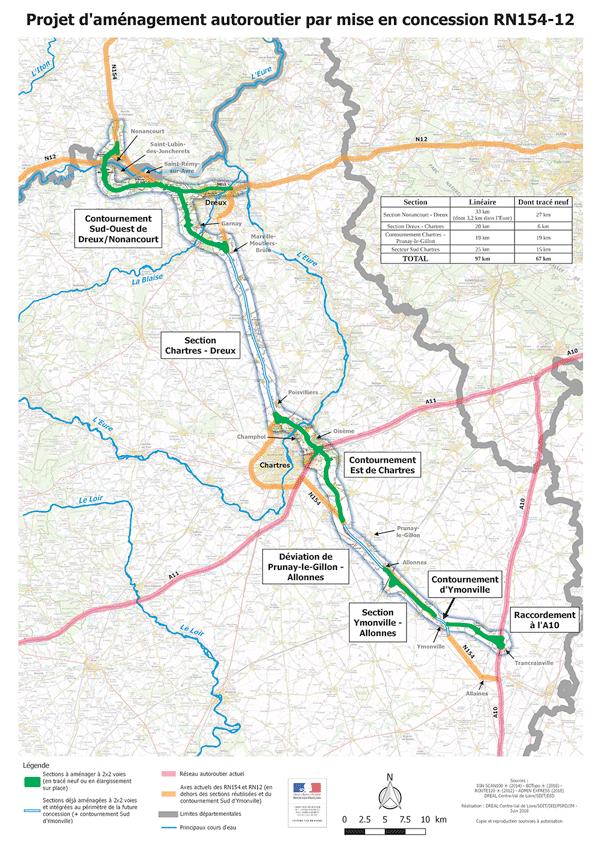 Le décret déclarant d'utilité publique les travaux de la future autoroute A154, de l'A10 près d'Orléans à Nonancourt, est paru au journal officiel du 5 juillet 2018