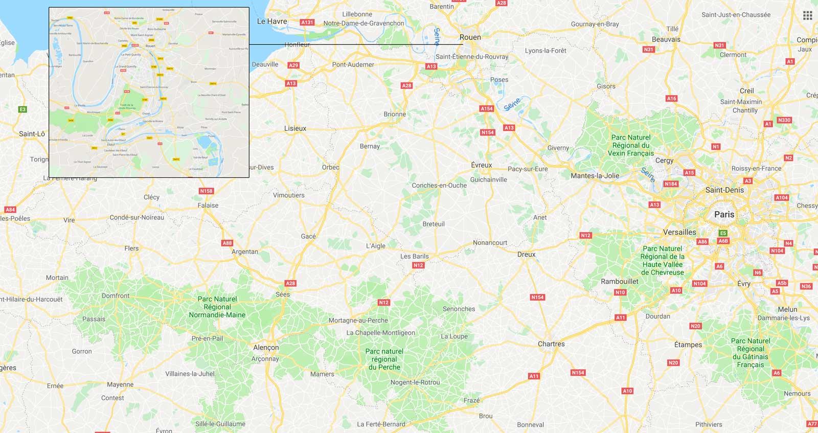 Parcs régionaux et forêts en Normandie, autour de Rouen, et dans les régions environnantes.